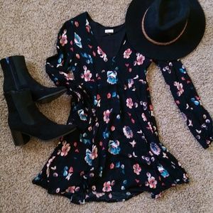 Floral Fit and Flare Long Sleeve Dress